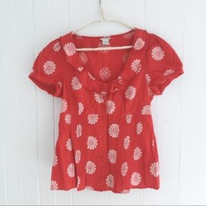 Anthropologie Odille Daisy Floral Cap Sleeve Top